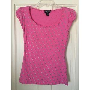 FANG G•L•A•M Pink short-sleeved shirt w/ skulls